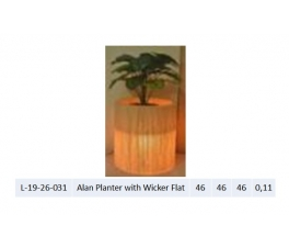 Alan Planter with Flat Wicker
