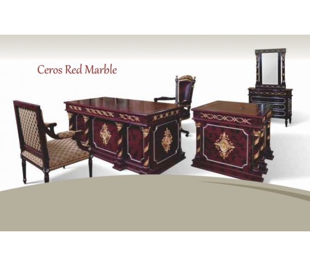 Ceros Director Table - Red Marble