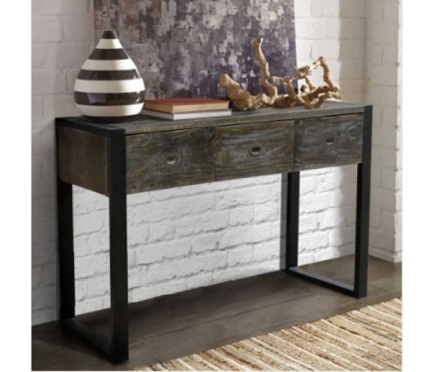 CONSOLE TABLE SCANDINAVIAN 3 DRAWERS BLACK RUSTIC