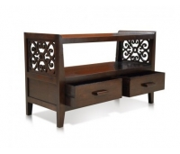 CONSOLE TV STAND DARK COLOUR TEAK WOOD
