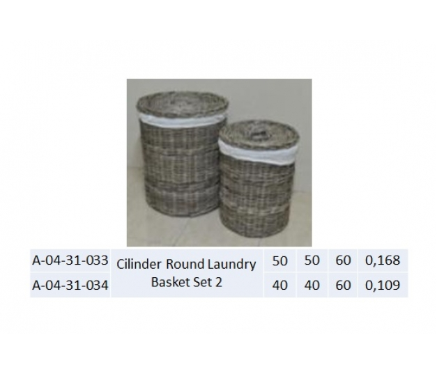 Cylinder Round Laundry Basket Set 1