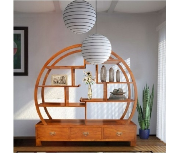 DISPLAY CABINET ORIENTAL WITH SUN RISE MOTIF