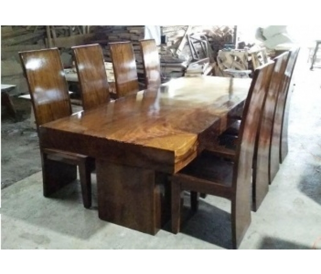 Dining table set suar wood