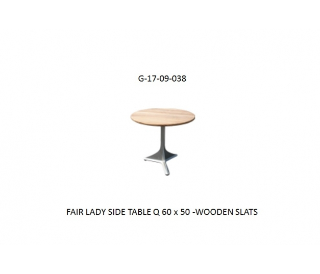 FAIR LADY SIDE TABLE Q 60 x 50 -WOODEN SLATS