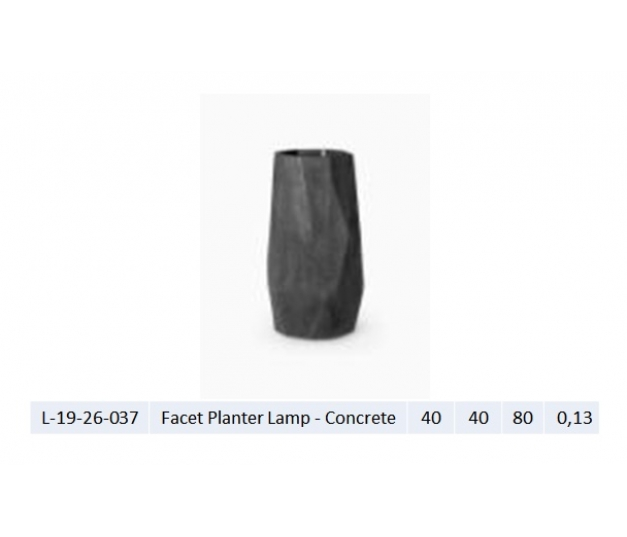 Facet Planter Lamp - Concrete