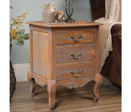 BEDSIDE 3 DRAWERS ANTIQUE TEAK WOOD