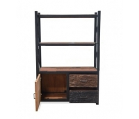 Iron and Wood bookcase 1 door 2 drawers