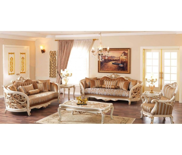 Classic Living room Carlos White Gold