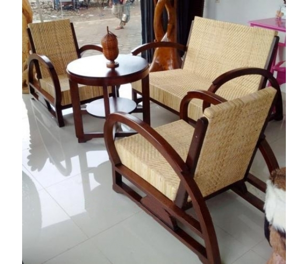 Antique rattan teak coffee table set