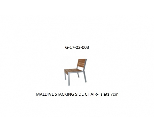 MALDIVE STACKING SIDE CHAIR-  slats 7cm