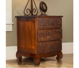 BEDSIDE TABLE MOTIF BATIK TEAK WOOD
