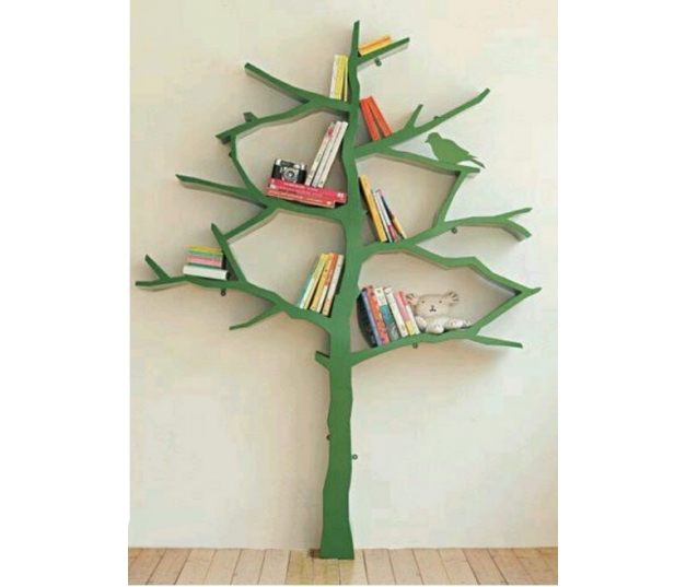 Green Full Color Tree Wall Shelves