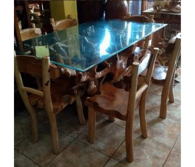 Antique teak root dining table set