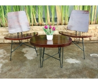 Antique solid industrial patio coffee table set