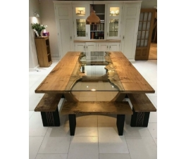 Dining Room Set natural wood and glass