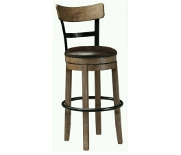 Round Bar Chair Iron and Leather Combination