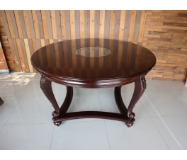 Round Teak Table With Carving Dining Set